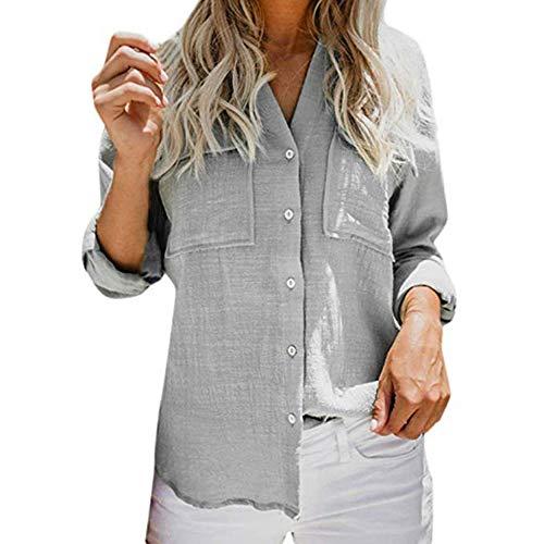 Cou de Couleur Shirt Chemise dcontract v Unie Manches Femmes Chemisier Bouton t Chemisier Manchette Mode Gris lgant qpPdwfqnX