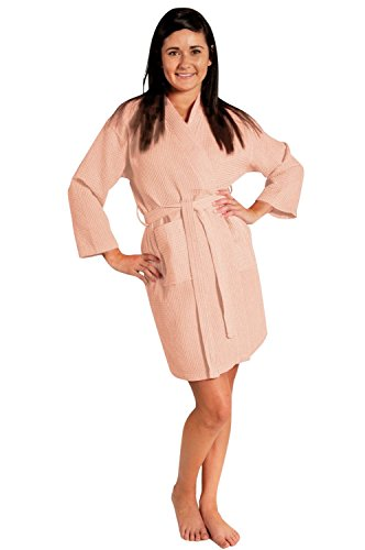 Waffle Kimono - Soft Touch Linen Lightweight Knee-Length Waffle Kimono Robe, Bridesmaids and Spa Bathrobe (Small/Medium, Peach)