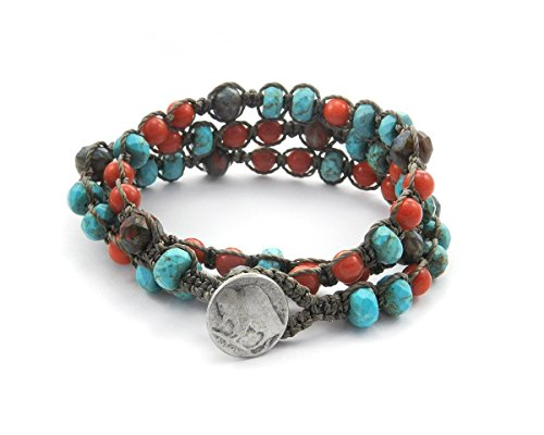 Turquoise, Red Coral, and Premium Czech picasso glass Macrame Triple Wrap Bracelet, Double wrap Anklet, or Single strand Necklace