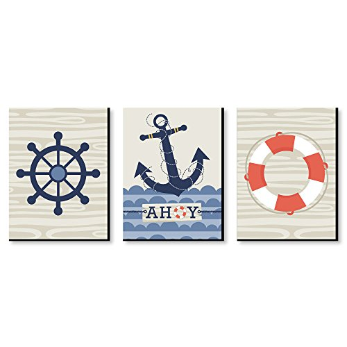 Ahoy - Nautical - Boy Nursery Wall Art and Kids Room Decorations - 7.5 x 10 inches - Set of 3 Prints
