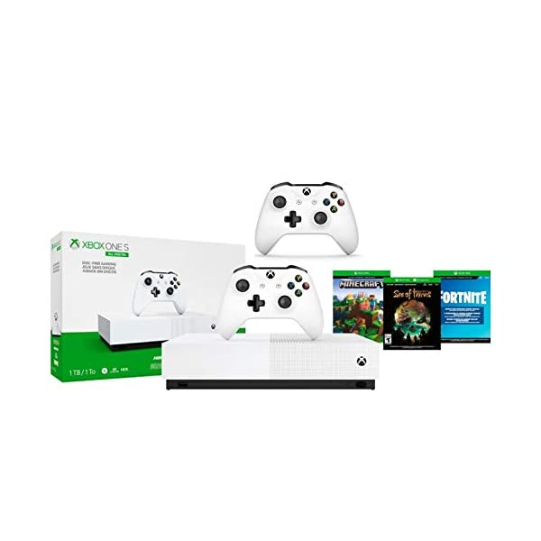 Xbox One S 1TB All-Digital Edition Two Controller Bundle, Xbox One S 1TB Disc-Free Console, 2 Wireless Controllers… 1