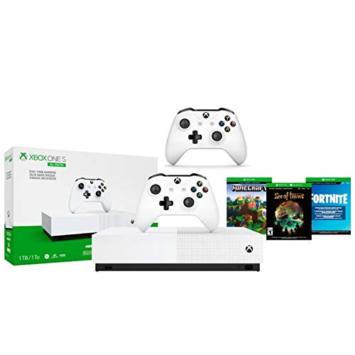 Xbox One S 1TB All-Digital Edition Two Controller Bundle, Xbox One S 1TB Disc-Free Console, 2 Wireless Controllers…