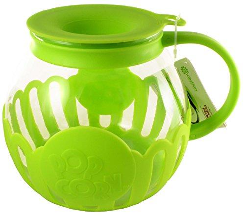 Ecolution Micro-Pop Microwave Popcorn Popper 3QT - Temperature Safe Glass w/Multi Purpose Lid (Large, Lime) (Popcorn Maker Gift Set)