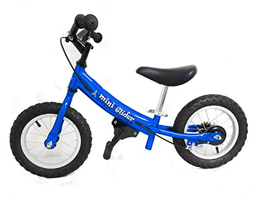 Mini Glider Kids Balance Bike with Patented Slow Speed Geometry (Blue)