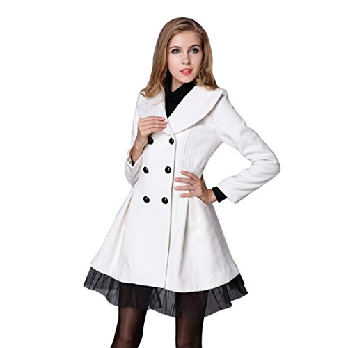 Womens Peacoat, Palarn Flare Double Breasted Trench Long Lapel Jacket Outwear (XL, White) (Leather Peacoat Breasted Double)