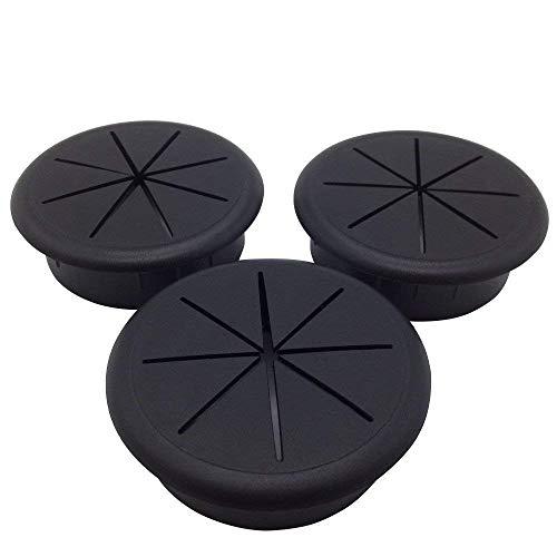 """ANZESER 2-3/8"""" Flexible Desk Grommet - Color: Black - 3 Pack"""