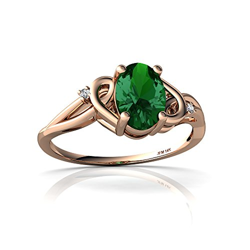 14kt Rose Gold Lab Emerald and Diamond 7x5mm Oval Swirls Ring - Size 9 ()