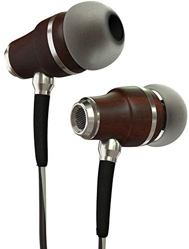 Symphonized NRG 3.0 Earbuds Headphones, Wood In-ear Noise-isolating Earphones, Balanced Bass Driven Sound with Mic & Volume Control (Black Night & Hazy Gray)