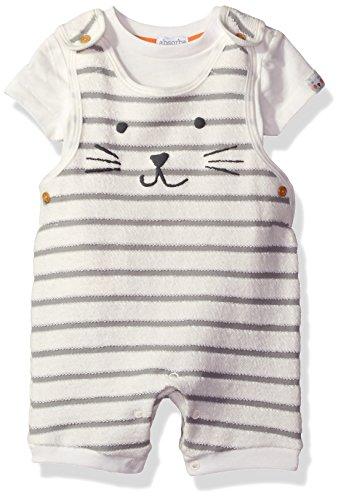 absorba Baby Boys Shortall Sets, Vanilla/Grey - Baby Boy Shortalls