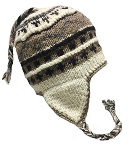 Nepal Hand Knit Sherpa Hat with Ear Flaps, Trapper Ski Heavy Wool Fleeced Lined Cap (Extra Large Head Black & White)