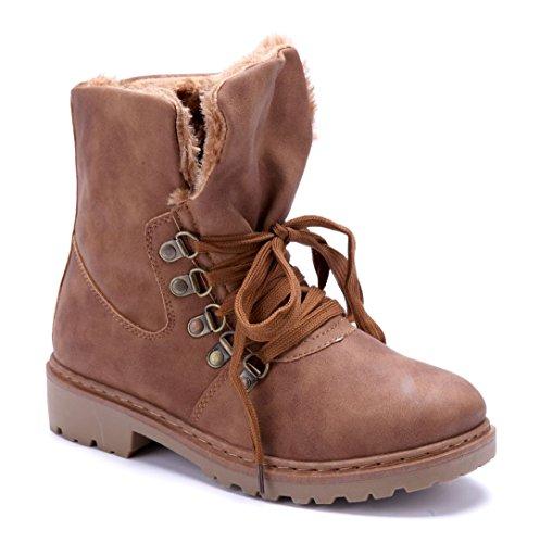 64a40aca0e5e Schuhtempel24 Damen Schuhe Boots Stiefel Stiefeletten Blockabsatz 3 cm Camel