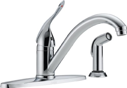 Chrome Commercial Single Handle (Delta Commercial 400LF-HDF Classic Single Handle Centerset Kitchen Faucet with Spray Chrome)