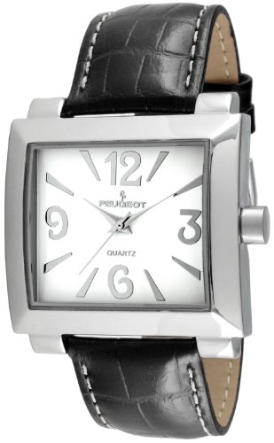 Peugeot Women's 706BK Silver-Tone Black Leather Strap Watch