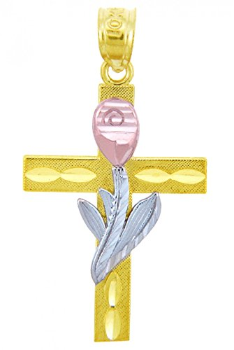 10 ct 471/1000 Deux Ton Or Tulpe-Fleur-Croix- Pendentif