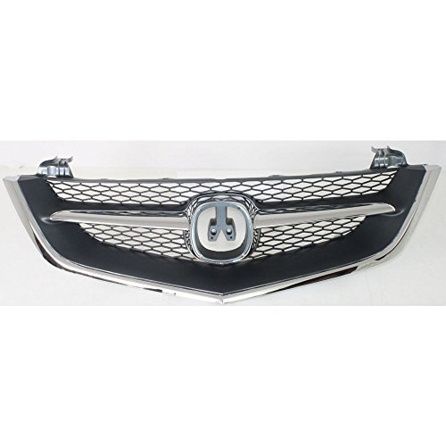 2003 Acura Tl Grille - Evan-Fischer EVA17772016011 Grille for Acura TL 02-03 Chrome Shell/Painted-Black Insert W/ Chrome Center Bar