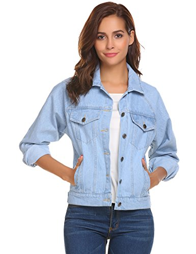 OD'lover Over-Sized Distressed Chest Pocket Long Sleeve Denim Jacket Blue XXL (Pocket Jeans Chest)