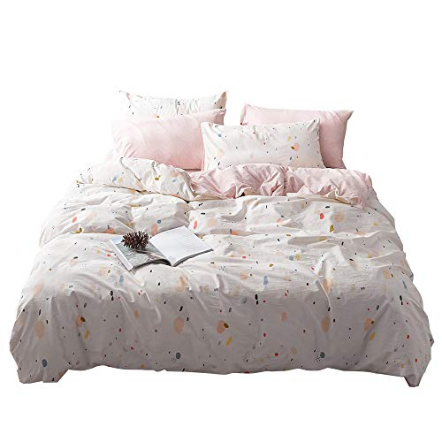 - VM VOUGEMARKET Washed Cotton Dot Duvet Cover Set Queen,Cream Pink Jersey Knit Cotton Bedding Set,Girls Home Bedding Set,Ultra Soft Comfy Zippered Luxury Comforter Cover with Corner Ties-Queen,Style 2
