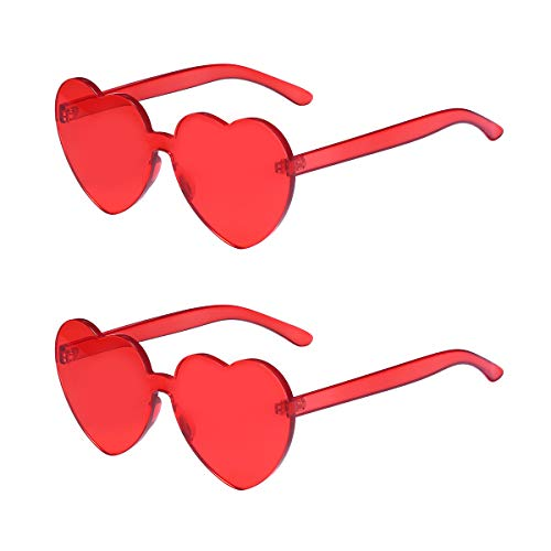 One Piece Heart Shaped Rimless Sunglasses Transparent Candy Color Eyewear (Red-2 ()