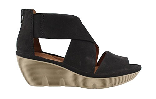 Clarks Clarene Glamour Womens Wedge Sandals Black Nubuck 7.5