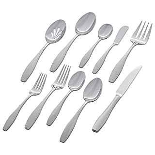 Stone & Beam Traditional Stainless Steel Flatware Silverware Set, Service for 8, 45-Piece, Silver with Square Brushed Trim (B07BDV6RTJ) | Amazon price tracker / tracking, Amazon price history charts, Amazon price watches, Amazon price drop alerts