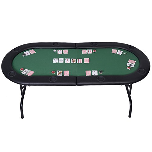 Mascarello Foldable 8 Player Poker Table Casino Texas Holdem Folding Poker Play Table