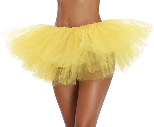 Women's, Teen, Adult Classic Elastic 3, 4, 5 Layered Tulle Tutu Skirt (One Size, Yellow 5Layer) -