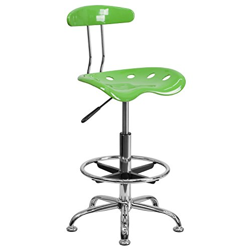 MFO Vibrant Spicy Lime and Chrome Drafting Stool with Tractor Seat
