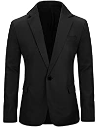 Men's Slim Fit Casual One Button Notched Lapel Blazer Jacket