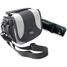 Stylish Black Camcorder Case With Shoulder Strap Compatible With Veho VCC-002HD-KUZO & VCC-003-MUVI-PRO