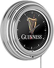 Trademark Gameroom Guinness Chrome Double Rung Neon Clock - Harp