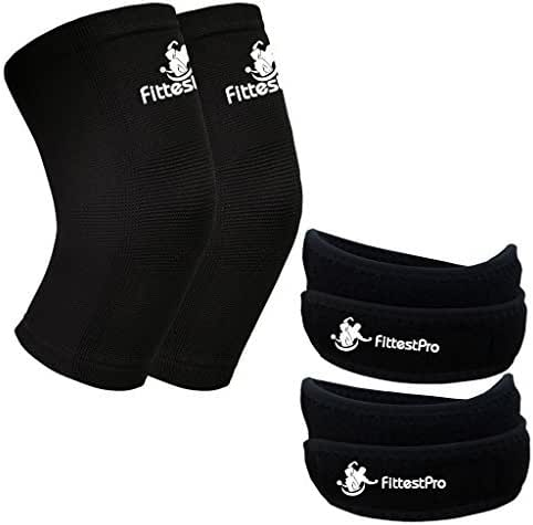 Fittest Pro Knee Sleeve Package (Pack of 4) - Knee Compression Sleeve (1 Pair) & Free Knee Braces (1 Pair) - Patella Knee Support Straps Sleeves - Knee Arthritis Brace & Pain Relief Strap