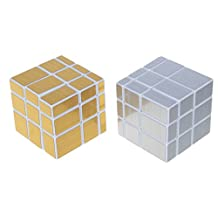 Willking Mirror Cube 3x3x3 Speed Cube Puzzle Set Golden & Silver Pack of 2 White