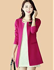GS~LY Women's Casual/Daily Simple / Punk & Gothic Trench Coat,Solid Round Neck Long Sleeve Winter Blue / Red / White / Black Cotton / Acrylic , fuchsia-3xl , fuchsia-3xl