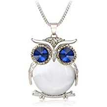 Axmerdal White Ruiting Fashion Women's Owl Crystal Jewelry Pendant Silver Chain Long Necklace Sweater Chain