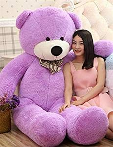 MAH Toys Stuffed Spongy Teddy Bear with Neck Bow 4 Feet . (Purple) (B07Y23P23B) Amazon Price History, Amazon Price Tracker