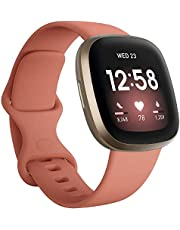 Fitbit FB511GLPK-FRCJK Versa 3 Health & Fitness Smartwatch with GPS, 24/7 Heart Rate, Alexa Built-in, 6+ Days Battery, Pink/Gold, One Size (S & L Bands Included) - Singapore Edition