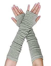 SourcingMap Women Elbow Length Arm Warmer Gloves Thumbhole Fingerless 1 Pairs Grey