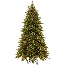 National Tree 6.5 Foot Frosted Berry Memory-Shape Tree with Cones, Red Berries, 600 Dual LED Lights with PowerConnect System and 9 Function Footswitch, Hinged (FRB3-302PD-65M)