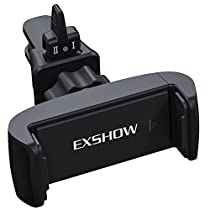 EXSHOW Universal 360 Rotate Car Air Vent Phone Cradle Mount for all 3.5-6 inches Cellphones Including but not Limited iPhone SE/5/5s/6s/6plus,Samsung series and Most Smartphones(Black)(Black)