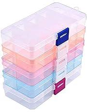 Sieradenorganizer-box, 5 stuks, kunststof opbergdoos, sieradendoos met verstelbare scheidingswanden, bewaardoos voor sieraden, ringen, oorbellen, kunstaccessoires