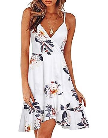 05876c07b1636 ULTRANICE Womens Summer Floral V Neck Adjustable Spaghetti Ruffle Casual  Swing Dress