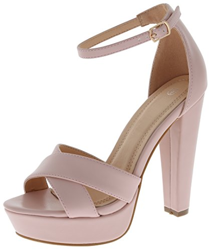 Cambridge Select Toe Women's Open Toe Select Crisscross Strappy Buckled Ankle Chunky Platform High Heel Sandal B07CC9WRYR Parent 1090e6