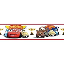 White DISNEY CARS WALL BORDER Boys Lightning McQueen Room Wallpaper Décor:New free shipping by WW shop