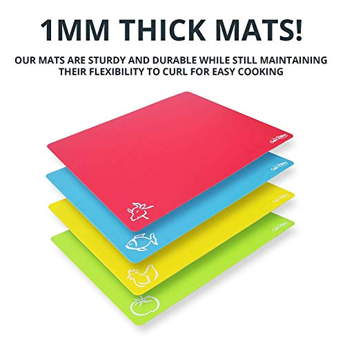 """Extra Thick Flexible Plastic Cutting Board Mats With Food Icons &""""EZ-Grip"""" Waffle Back, (Set of 4) - Textured Waffle Grip Bottom Prevents Slipping On Most Counter tops - Prevents Cross Contamination"""
