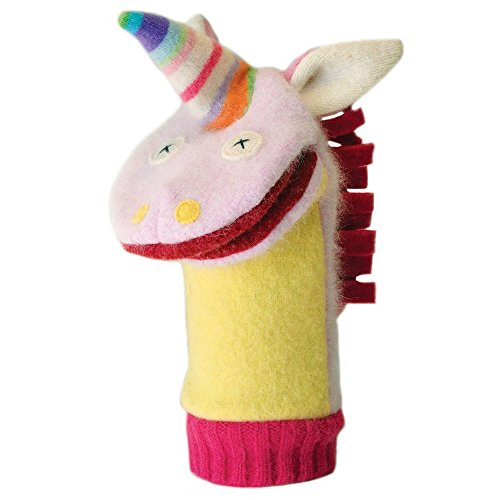 Cate and Levi 12 Handmade Unicorn Hand Puppet (Premium Reclaimed Wool), Colors Will Vary