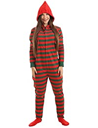 Footed Pajamas Striped Adult Onesie Red Green Stripes XS-XXL(Size by height)