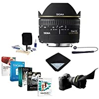 Sigma 15mm f/2.8 EX DG AutoFocus Diagonal FishEye Lens for Sigma SA - USA Warranty - Bundle with Flex Lens Shade, Cleaning Kit, Lens Wrap, Lens Cap Leash, Software Package