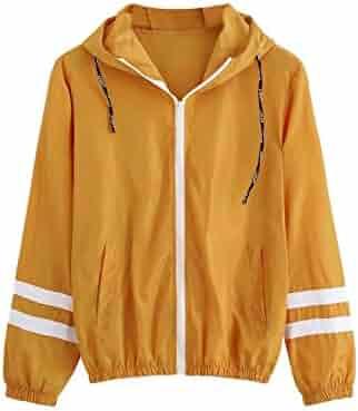 c7d90998505 SweatyRocks Women's Casual Color Block Drawstring Hooded Windbreaker Jacket