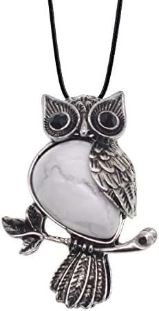 ZHEPIN Owl Necklace Healing Pendant Nekclace for Women Men Spiritual Energy Gemstone Necklace - 19 inches