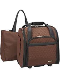 Wheeled Underseat Carry-On with Back-Up Bag, Quilted Microfiber, Chocolate, One Size